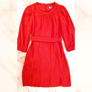 pippa coral red tie waist long sleeve shift dress